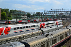 Moscow, Russia - June 03.2016. Trains at access roads to Kursk station Stock Image