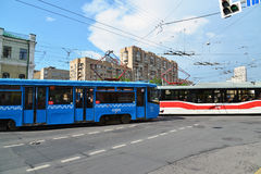Moscow, Russia - June 03.2016. Tram at crossroads in front of subway Krasnoselskaya Stock Image