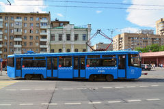 Moscow, Russia - June 03.2016. Tram at crossroads in front of subway Krasnoselskaya Stock Photography