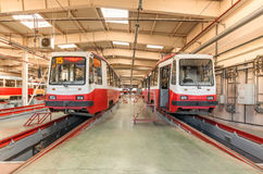 MOSCOW/RUSSIA - JUNE , 2014; Tram inside the depot. Krasnopresnenskaya tram depot, Strogino. Stock Photos