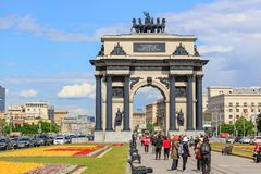 Moscow, Russia - June 09, 2018: Triumphal Arch on Kutuzovsky Avenue in Moscow at sunny summer day against blue sky with white stock photo