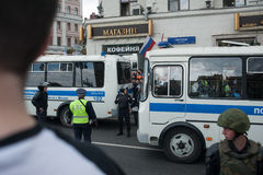 MOSCOW, RUSSIA, 2017 - JUNE 12. Tverskaya street. Jail wagons, militaries, police officers against peaceful anti-corruption protests Royalty Free Stock Photos