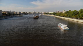 Moscow; Russia, June-Twenty six Two thousand sixteen year;  tour and recreational  boats on Moscow river in the rest day stock footage