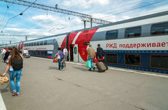 Moscow, Russia - June 14.2016. two-storey train number 45 route from Moscow to Voronezh at Kazan station Royalty Free Stock Photo