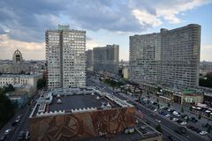 New Arbat street in Moscow. Moscow, Russia - June 23, 2018: View on the New Arbat Avenue street from above at twilight. Modern six-lane avenue, along with two Stock Photography