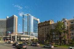 Moscow, Russia -03 June 2016. View of the Novy Arbat, Lotte Hotel and Novinsky Boulevard. Moscow, Russia -03 June 2016. View of the Novy Arbat, Lotte Hotel and a Stock Photo