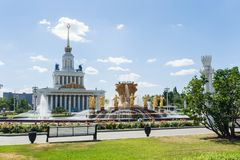 Moscow, Russia - June 24, 2019: View to fountain of Friendship of peoples and Central pavilion at VDNKH.  stock images