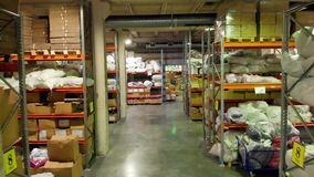 Moscow, Russia - June, 2018: Warehouse logistics is important. Stock. Storage room with boxes and goods. stock video footage