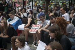 Young people are holding posters in protest against police brutality. Moscow, RUSSIA - June 12, 2019: Young people are holding posters in protest against police stock photo