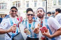 moscow russia Juni 18, 2018 Argentinska fotbollsfan på Nikol Arkivbilder