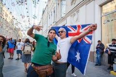 moscow russia Juni 18, 2018 Australiska fotbollsfan med a Arkivfoto