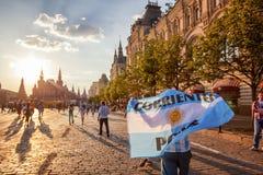 moscow russia Juni 18, 2018 Den argentinska fotbollsfan går med Royaltyfri Foto