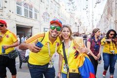 moscow russia Juni 18, 2018 Fotbollsfan från Colombia i M Fotografering för Bildbyråer
