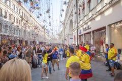 moscow russia Juni 18, 2018 Fotbollsfan i Moskva, Colombi Royaltyfri Foto