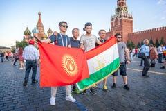 moscow russia Juni 18, 2018 Fotbollsfan och turister med Royaltyfri Bild