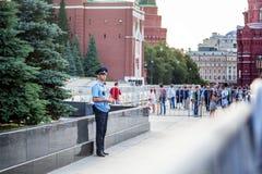 moscow russia Juni 18, 2018 Polisen i likformig är stan Royaltyfria Foton