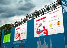 MOSCOW-RUSSIA 11 Juni 2018: Världscupmästerskap på skärm Fotografering för Bildbyråer