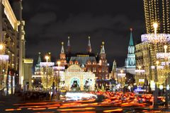 Moscow Kremlin at night on the eve of the New Year. 12.24.2017. Moscow. Russia. Moscow Kremlin at night on the eve of the New Year. The main road with cars Stock Image