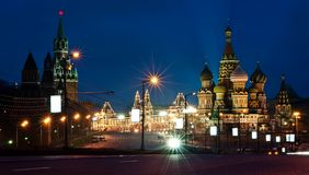 Moscow, Russia: Kremlin and St.Basil's cathedral. Night view Stock Images