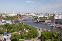 Moscow. Russia. Look the View of the Kremlin and Bolshoy Kamenny Bridge from a belltower of the Cathedral of Christ the Saviour. Moscow. Russia Royalty Free Stock Images