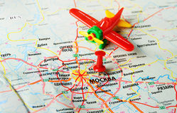 Moscow , Russia map airplane. Close up of Moscow , Russia map and airplane toy royalty free stock image