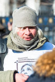 Activist wearing t-shirt with Nadezhda Tolokonniko Stock Photos