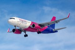 Moscow, Russia - March 14, 2019: Aircraft Airbus A320-200 HA-LYT of Wizz Air going to landing at Vnukovo airport in Moscow on a