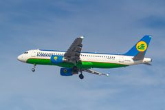 Moscow, Russia - March 14, 2019: Aircraft Airbus A320-200 UK32012 of Uzbekistan Airways going to landing at Vnukovo airport in