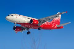 Moscow, Russia - March 14, 2019: Aircraft Airbus A319-100 VQ-BBA of Rossiya - Russian Airlines going to landing at Vnukovo airport