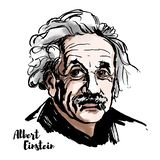 Albert Einstein Portrait. MOSCOW, RUSSIA - MARCH 20, 2018: Albert Einstein watercolor vector portrait with ink contours. The theoretical physicist who developed royalty free illustration