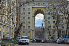 Moscow, Russia - March 14, 2016. Apartment building with an arch on  street Zemlyanoy wall - sample Stalinist architecture. Moscow, Russia - March 14, 2016 Stock Photos