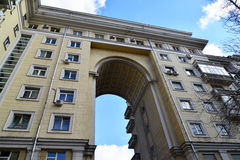 Moscow, Russia - March 14, 2016. Apartment building with an arch on  street Zemlyanoy wall - sample Stalinist architecture. Moscow, Russia - March 14, 2016 Stock Photo