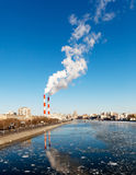 Cityscape of the Moscow river Royalty Free Stock Photo