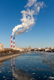 Cityscape of the Moscow river Royalty Free Stock Photos