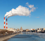 Cityscape of the Moscow river Stock Photography