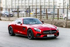 Mercedes-Benz AMG GT. Moscow, Russia - March 2, 2018: Dark red supercar Mercedes-Benz AMG GT in the city street Royalty Free Stock Images