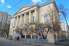 Moscow, Russia - March 14, 2016. Elizabethan former women's gymnasium, now Pokrovskaya School 2095 in  Big Kozenyi alley Stock Photos