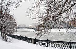 Snowstorm in Moscow stock photos