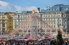 Festive decorations on Manezhnaya square in Moscow, Russia. Moscow, Russia - March 2, 2019: Festival `The Moscow Maslenitsa 2019`. Festive decorations on royalty free stock images
