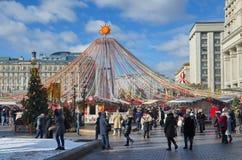 Festive design on Manezhnaya square in Moscow, Russia. Moscow, Russia - March 2, 2019: Festival `The Moscow Maslenitsa 2019`. Festive decorations on Manezhnaya royalty free stock image