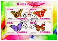 Four postage stamps printed in Rwanda shows Butterflies serie, circa 2013