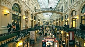 MOSCOW, RUSSIA - MARCH, 9, 2017. Interior of famous historic department store GUM near the Red Square Royalty Free Stock Photos