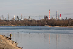 MOSCOW, RUSSIA - March, 2016: Kapotnya, Moskva Reka, Maryno and Brateevo, outskirts of UVAO Moscow, Russia. view of Stock Images