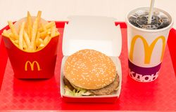 Moscow, Russia, March 15 2018: McDonald`s Big Mac hamburger menu, French Fries and Coca Cola Royalty Free Stock Image