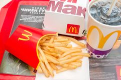 Moscow, Russia, March 15 2018: McDonald`s Big Mac hamburger menu, French Fries and Coca Cola Stock Photo