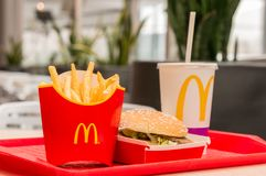Moscow, Russia, March 15 2018: McDonald`s Big Mac hamburger menu, French Fries and Coca Cola Royalty Free Stock Photography