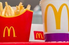 Moscow, Russia, March 15 2018: McDonald`s Big Mac hamburger menu, French Fries and Coca Cola Royalty Free Stock Photo