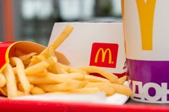 Moscow, Russia, March 15 2018: McDonald`s Big Mac hamburger menu, French Fries and Coca Cola Stock Photo