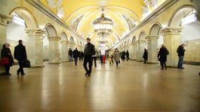 Moscow, Russia - March 10.2016. Metro station Komsomolskaya indoors stock video