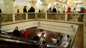Moscow, Russia - March 10.2016. Metro station Komsomolskaya indoors stock footage